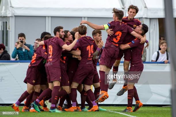 Alejandro Marques of FC Barcelona celebrates after scoring a goal during the UEFA Youth League Final match between Chelsea FC and FC Barcelona at...