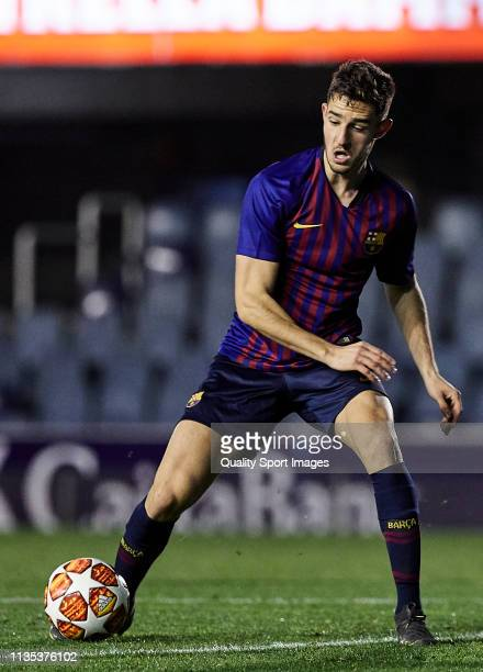 Alejandro Marques of FC Barcelona U19 with the ball during the UEFA Youth League round of 16 round 2 at Mini Estadi on March 12 2019 in Barcelona...