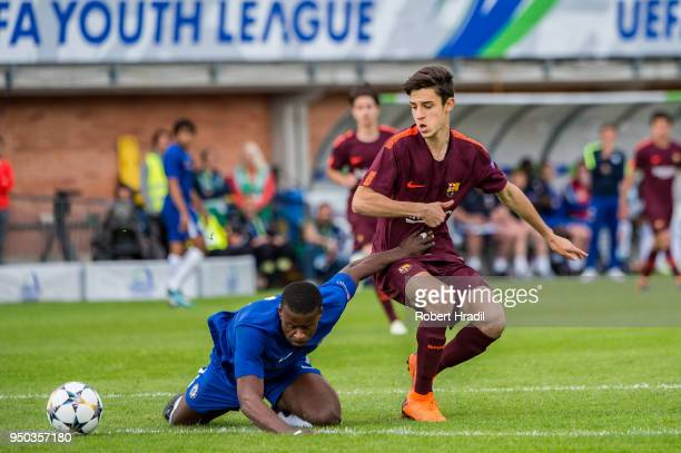 Alejandro Marques of FC Barcelona vies with Dujon Sterling of Chelsea FC during the UEFA Youth League Final match between Chelsea FC and FC Barcelona...