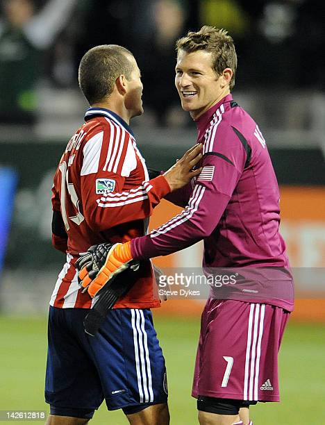 Alejandro Moreno and goal keeper Dan Kennedy of Chivas USA after the game against the Portland Timbers at JeldWen Field on April 7 2012 in Portland...