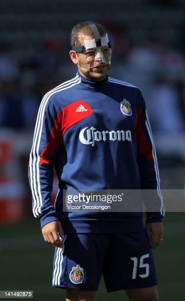 Alejandro Moreno of Chivas USA looks on during warmup prior to their MLS match against the Houston Dynamo at The Home Depot Center on March 11 2012...