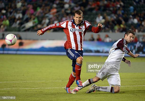 Alejandro Moreno of Chivas USA reacts as Drew Moor of the Colorado Rapids knocks the ball to the corner at The Home Depot Center on October 20 2012...