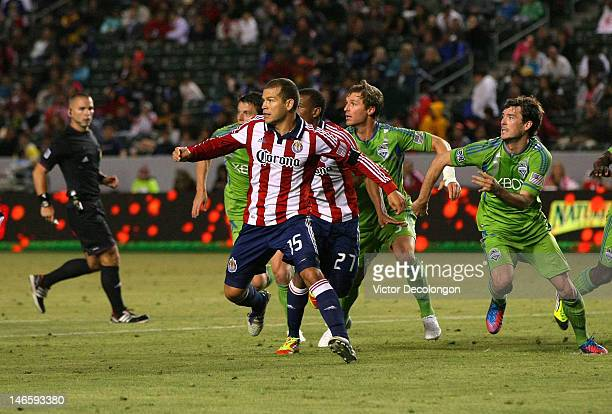 Alejandro Moreno of Chivas USA runs into space during a Chivas USA corner kick the MLS match against the Seattle Sounders at The Home Depot Center on...