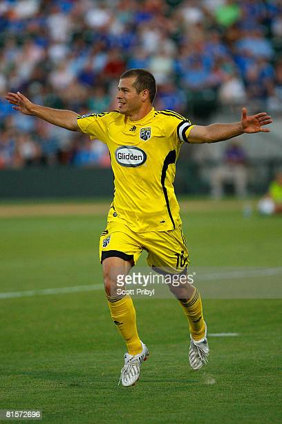 Alejandro Moreno of the Columbus Crew celebrates after scoring the third goal of the game against the Kansas City Wizards on June 14 2008 at...