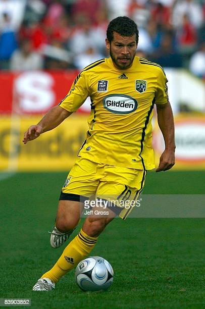 Alejandro Moreno of the Columbus Crew paces the ball on the right wing during the 2008 MLS Cup match against the New York Red Bulls at The Home Depot...