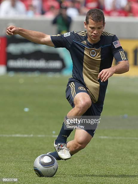 Alejandro Moreno of the Philadelphia Union brings the ball down field against Real Salt Lake during an MLS soccer game on May 8 2010 at Rio Tinto...