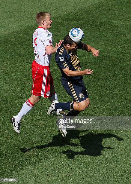 Alejandro Moreno of the Philadelphia Union heads the ball in front of Tim Ream of the New York Red Bulls on April 24 2010 at Red Bull Arena in...