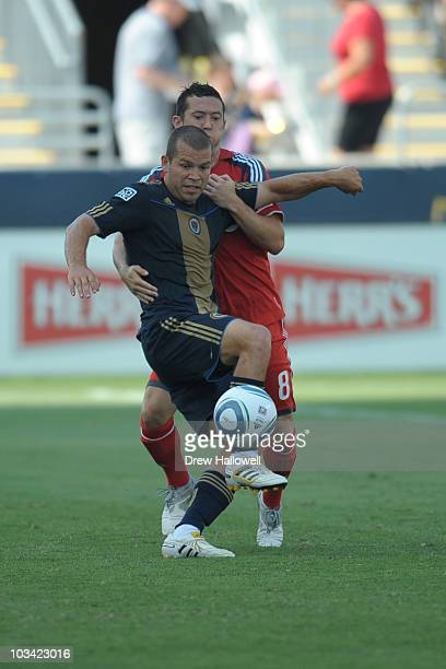 Alejandro Moreno of the Philadelphia Union kicks the ball during the game against Toronto FC at PPL Park on July 17 2010 in Chester Pennsylvania The...