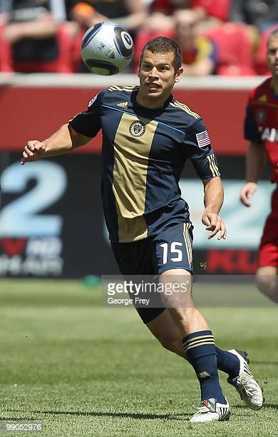 Alejandro Moreno of the Philadelphia Union looks at the ball against Real Salt Lake during an MLS soccer game on May 8 2010 at Rio Tinto Stadium in...