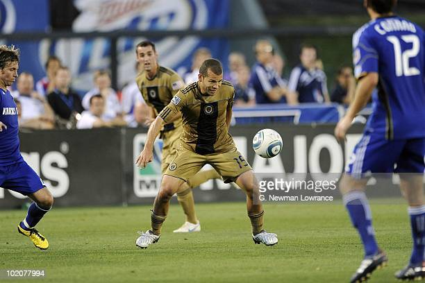 Alejandro Moreno of the Philadelphia Union pursues a loose ball against the Kansas City Wizards on June 10 2010 at Community America Park in Kansas...
