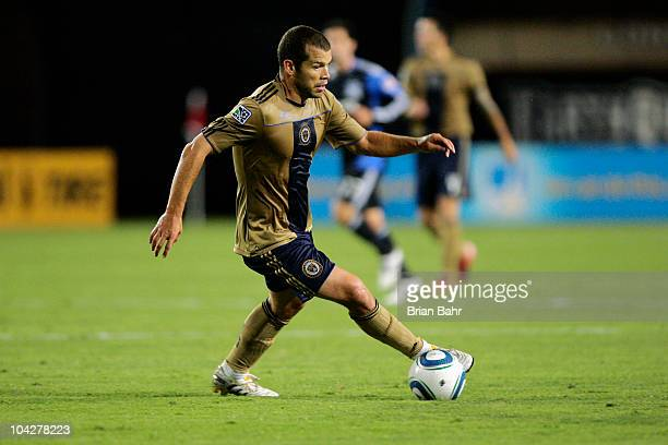 Alejandro Moreno of the Philadelphia Union turns with the ball against the San Jose Earthquakes on September 15 2010 at Buck Shaw Stadium in Santa...
