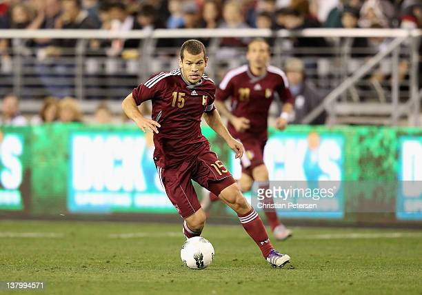 Alejandro Moreno of Venezuela in action during the friendly match against USA at University of Phoenix Stadium on January 21 2012 in Glendale Arizona...