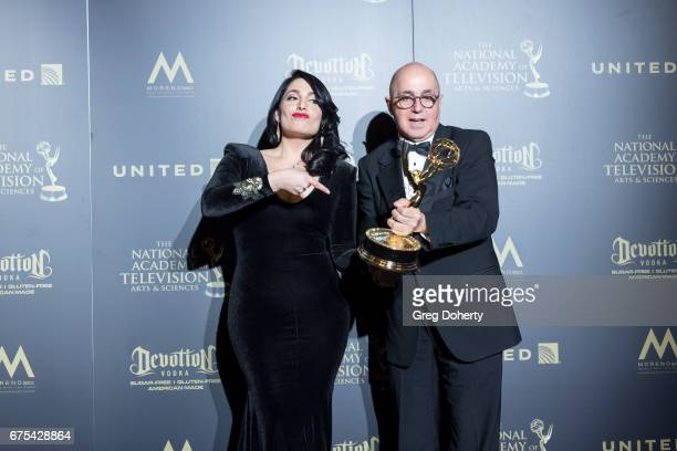 Alejandro Oraa and Eduardo Suarez display their Emmy Award at the 44th Annual Daytime Emmy Awards at Pasadena Civic Auditorium on April 30 2017 in...