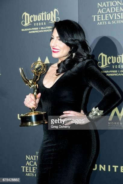Alejandro Oraa displays her Emmy Award at the 44th Annual Daytime Emmy Awards at Pasadena Civic Auditorium on April 30 2017 in Pasadena California