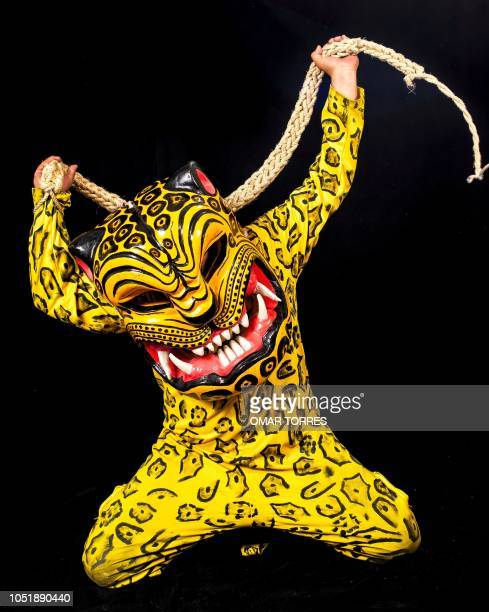 Alejandro Pantaleon Carino poses for a photograph with his tiger costume during the presentation of the Huey Atlixcayotl Festival on September 29...