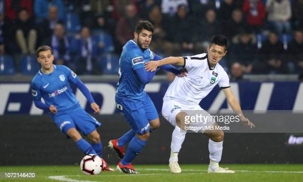 Alejandro Pozuelo and Naomichi Ueda fight for the ball during the Jupiler Pro League match between KRC Genk and Cercle Brugge KSV at Cristal Arena on...