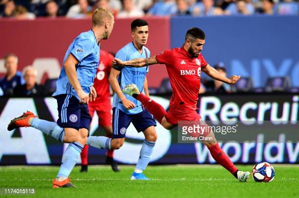 Alejandro Pozuelo of Toronto FC kicks the ball during their game against New York City FC at Yankee Stadium on September 11 2019 in the Bronx borough...