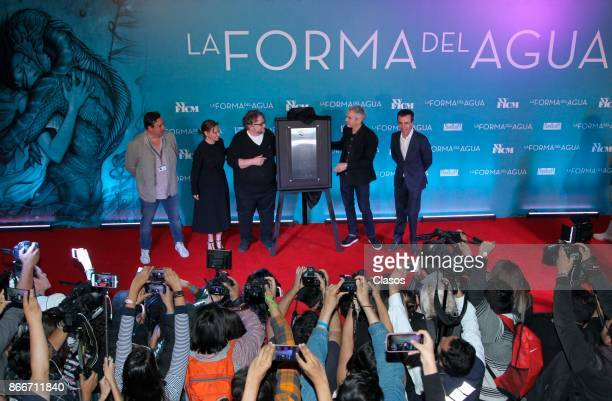 Alejandro Ramírez Magaña Daniela Michel Guillermo del Toro Alfonso Cuaron and Cuauhtemoc Cardenas Batel unveil a commemorative plaque of the Festival...