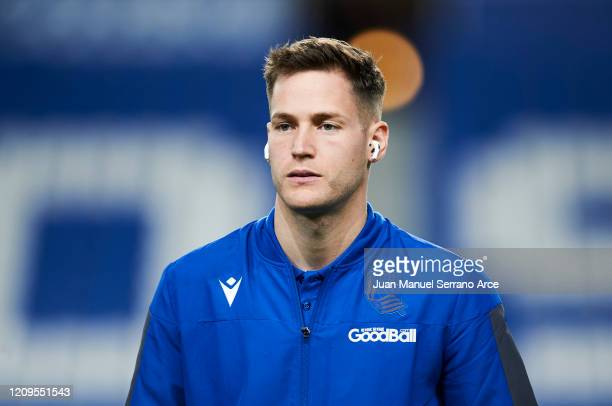 Alejandro Remiro of Real Sociedad looks on prior to the start the La Liga match between Real Sociedad and Real Valladolid CF at Estadio Anoeta on...