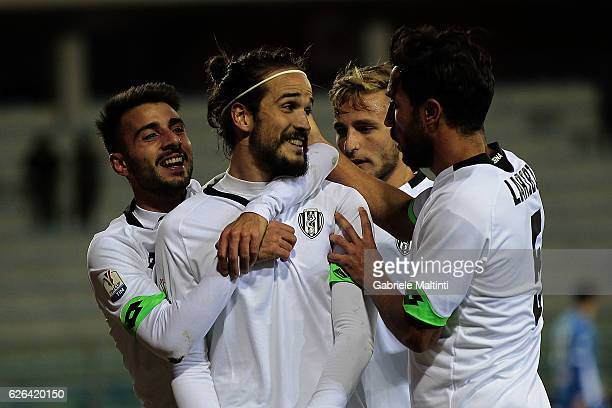 Alejandro Rodriguez of AC Cesena celebrates after scoring a goal during the TIM Cup match between Empoli FC and AC Cesena at Stadio Carlo Castellani...