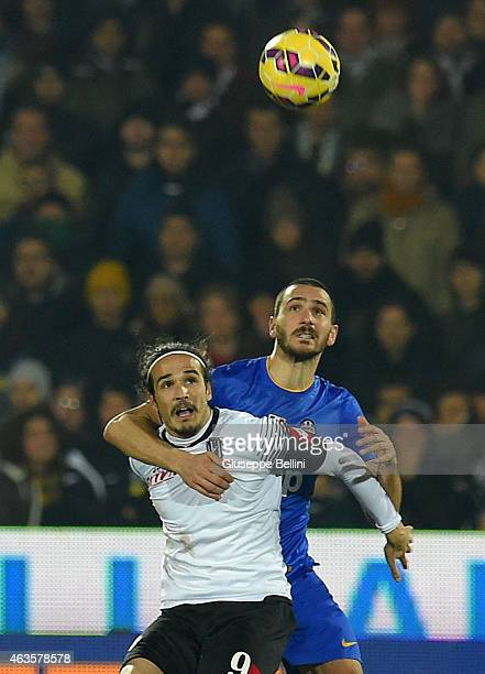 Alejandro Rodriguez of Cesena and Leonardo Bonucci of Juventus in action during the Serie A match between AC Cesena and Juventus FC at Dino Manuzzi...