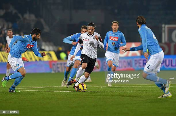 Alejandro Rodriguez of Cesena in action during the Serie A match between AC Cesena and SSC Napoli at Dino Manuzzi Stadium on January 6 2015 in Cesena...
