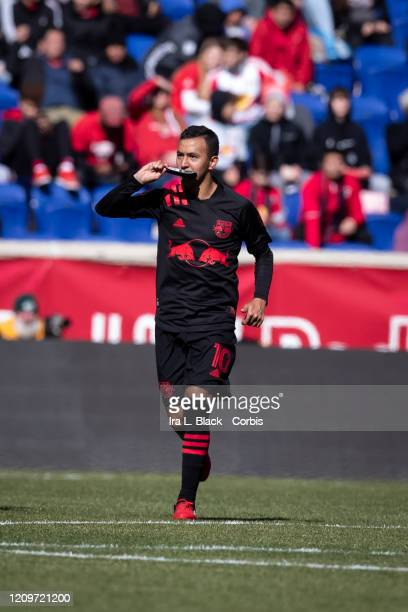 Alejandro Romero Gamarra of New York Red Bulls kisses his shin guard after scoring a goal during 1st half of the Major League Soccer Match between...