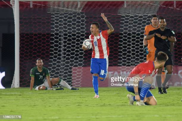 Alejandro Romero Gamarra of Paraguay celebrates after scoring the second goal of his team during a match between Paraguay and Bolivia as part of...