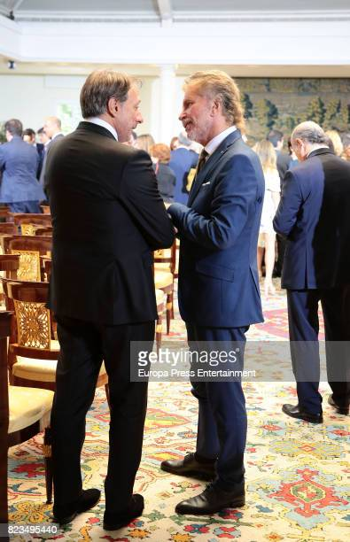 Alejandro Rubio and Edmundo Bigote Arrocet attend the Golden Medal of Merit In Work during a ceremony at Moncloa Palace on July 27 2017 in Madrid...