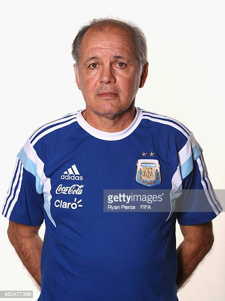 Alejandro Sabella manager of Argentina poses during the official FIFA World Cup 2014 portrait session on June 10 2014 in Belo Horizonte Brazil