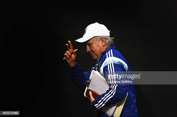 Alejandro Sabella of Argentina faces the media during a press conference at Maracana on July 12 2014 in Rio de Janeiro Brazil