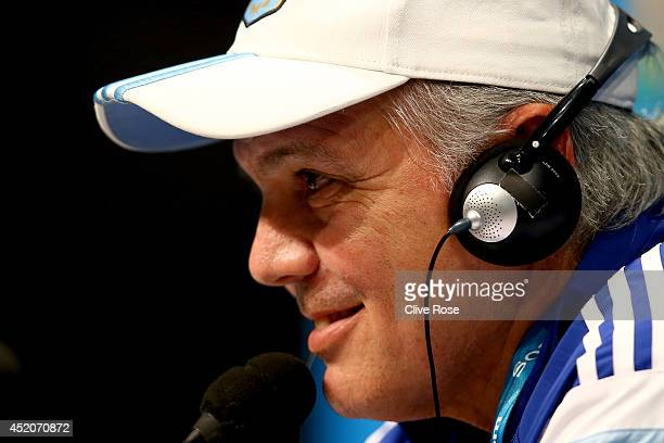 Alejandro Sabella of Argentina talks to the media during a press conference at Maracana on July 12 2014 in Rio de Janeiro Brazil