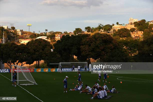 Alejandro Sabella of Argentina talks with the team during a training session on July 2 2014 in Vespasiano Brazil