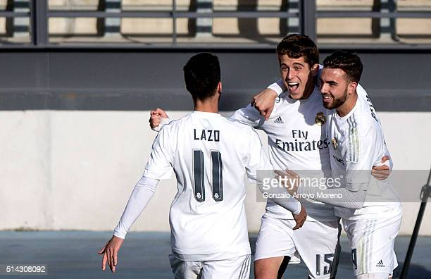 Alejandro Salto of Real Madrid CF celebrates scoring their second goal with teammates Borja Mayoral and Jose Carlos Lazo during the UEFA Youth League...