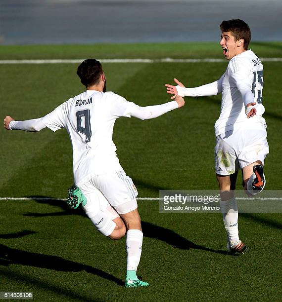 Alejandro Salto of Real Madrid CF celebrates scoring their second goal with teammate Borja Mayoral during the UEFA Youth League Quarter Finals match...