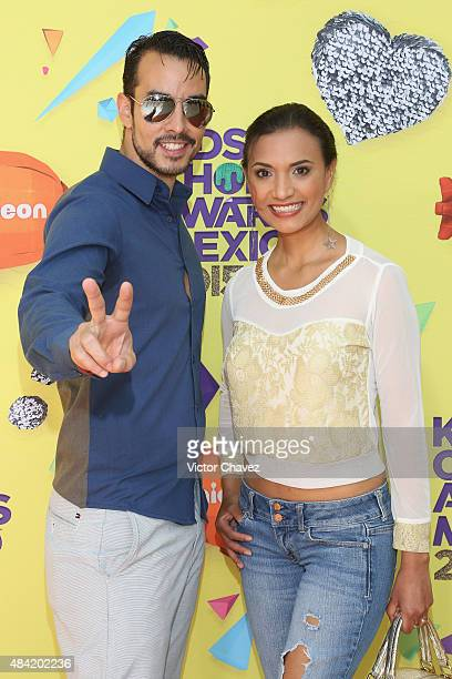Alejandro Sandi and Olinka Velazquez arrive at Nickelodeon Kids' Choice Awards Mexico 2015 Red Carpet at Auditorio Nacional on August 15 2015 in...