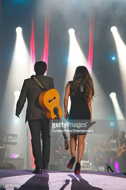 Alejandro Sanz and Malu perform during Cadena 100 Radio 20th anniversary concert at Vicente Calderon Stadium on June 2 2012 in Madrid Spain