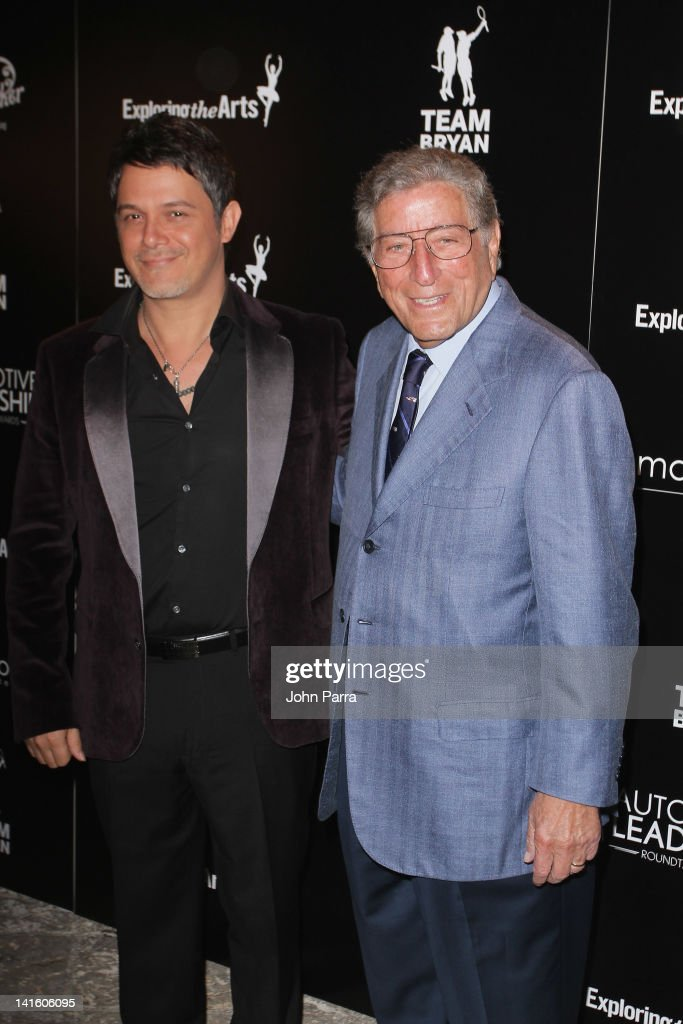 Alejandro Sanz and Tony Bennett attend the Tony Bennett Benefit Gala at Vizcaya Museum and Gardens on March 19, 2012 in Miami, Florida.