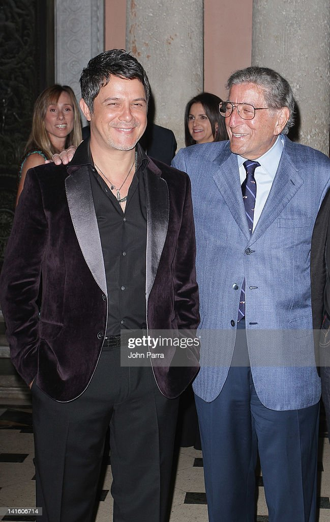 Alejandro Sanz and Tony Bennett attend Tony Bennett Benefit Gala at Vizcaya Museum and Gardens on March 19, 2012 in Miami, Florida.
