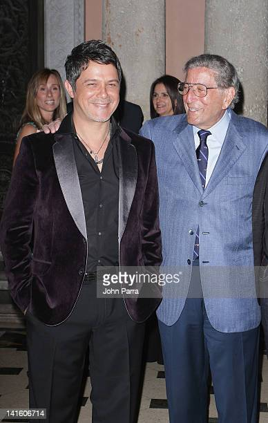 Alejandro Sanz and Tony Bennett attend Tony Bennett Benefit Gala at Vizcaya Museum and Gardens on March 19 2012 in Miami Florida