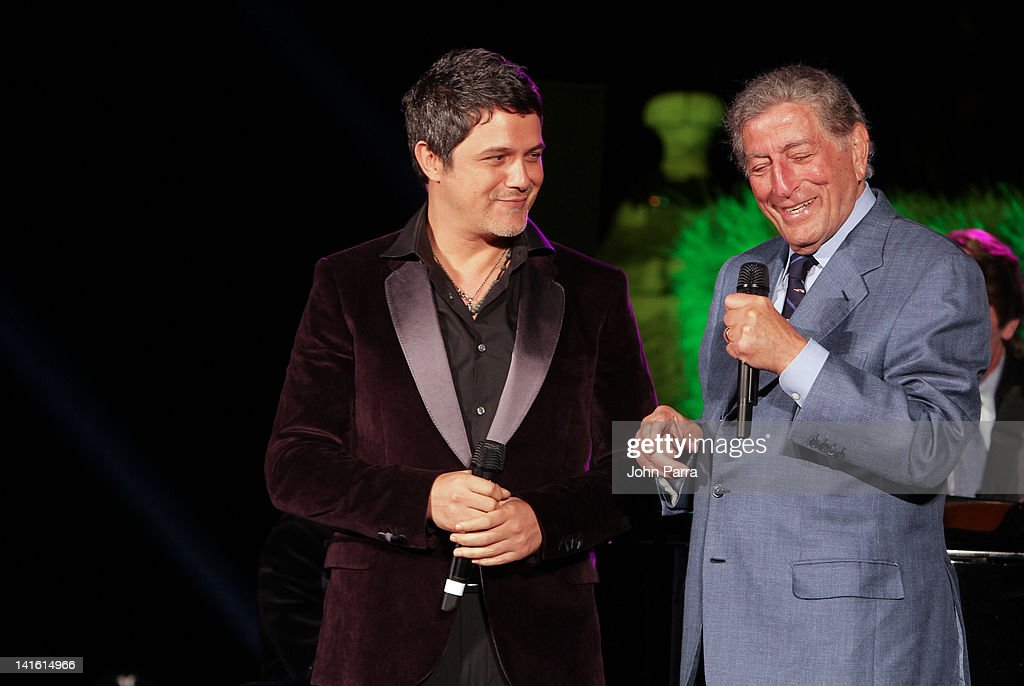 Alejandro Sanz and Tony Bennett perform during the Tony Bennett Benefit Gala at Vizcaya Museum & Gardens on March 19, 2012 in Miami, Florida.