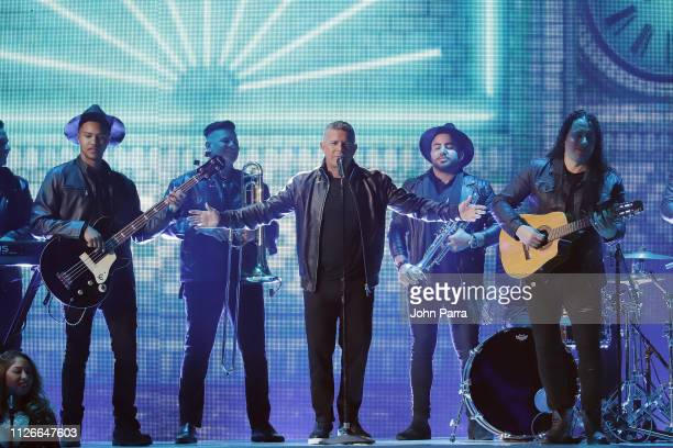 Alejandro Sanz performs on stage at Univision's 31st Edition Of Premio Lo Nuestro A La Musica Latin at American Airlines Arena on February 21 2019 in...