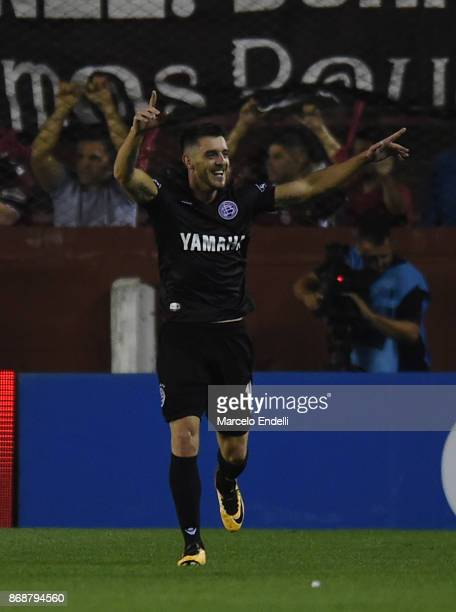 Alejandro Silva of Lanus celebrates after scoring the fourth goal of his team during a second leg match between Lanus and River Plate as part of the...
