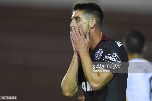 Alejandro Silva of Lanus laments after missing a chance to score during the second leg match between Lanus and The Strongest as part of round of 16...