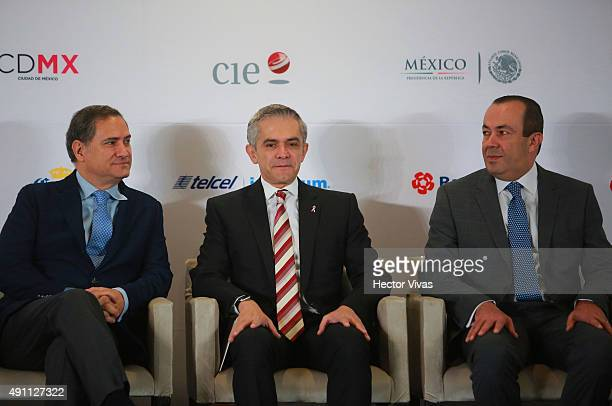 Alejandro Soberon Miguel Angel Mancera and Francisco Maass look on during the inauguration of Hermanos Rodriguez on October 03 2015 in Mexico City...