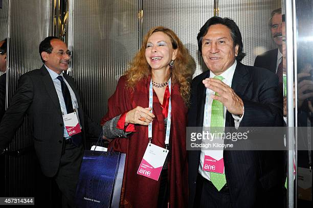 Alejandro Toledo the former President of Peru and his wife Eliane Karp attend the One Young World Summit at the Convention Centre on October 16 2014...