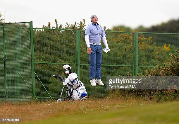 Alejandro Tosti of Argentina jumps up to see the green on the 15th fairway during The Amateur Championship 2015 Day Four at Carnoustie Golf Club on...