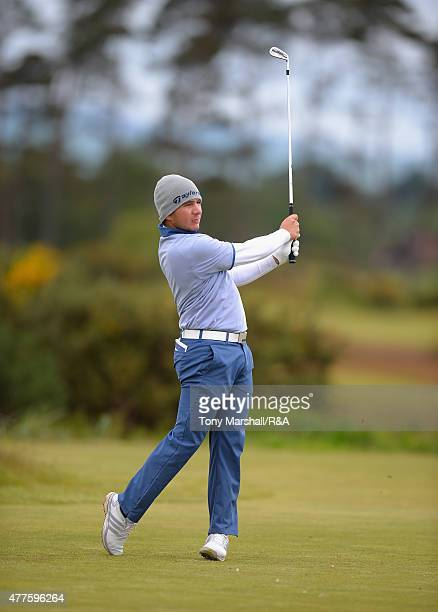 Alejandro Tosti of Argentina plays his first shot on the 15th tee during The Amateur Championship 2015 Day Four at Carnoustie Golf Club on June 18...