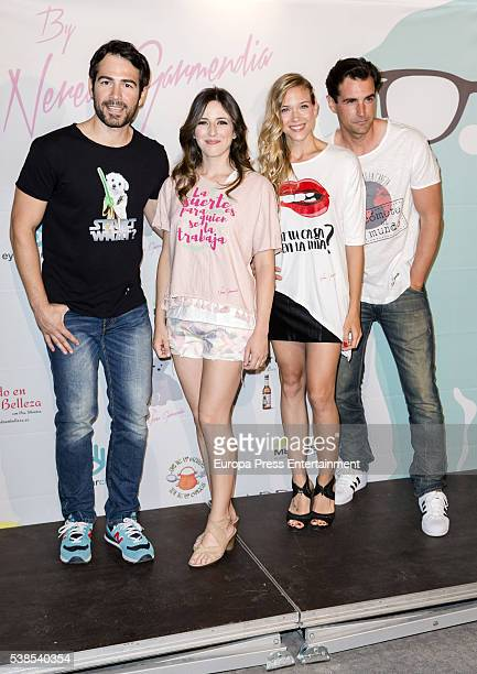 Alejandro Tous actress Ruth Nunez actress Patricia Montero and actor Alex Adrover attends the 'By Nerea Garmendia' 2nd anniversary party photocall at...