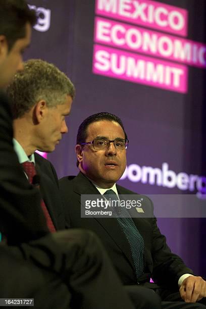 Alejandro Valenzuela chief executive officer of Grupo Financiero Banorte SAB speaks at the Bloomberg Mexico Economic Summit at the Club de Banqueros...